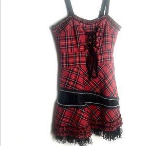 Hell Bunny plaid corset rockabilly dress